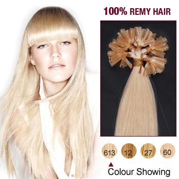 """18"""" Bleach Blonde(#613) 100S Nail Tip Human Hair Extensions"""