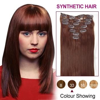 "18"" Dark Auburn(#33) 7pcs Clip In Synthetic Hair Extensions"