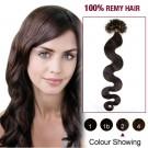 "20"" Dark Brown(#2) 100S Wavy Nail Tip Remy Human Hair Extensions"