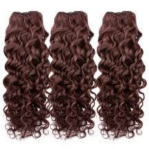 10 Inches Dark Auburn(#33) Deep Wave Indian Remy Hair Wefts Bundle