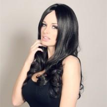 Celebrity Human Hair Full Lace Wig Wavy Jet Black
