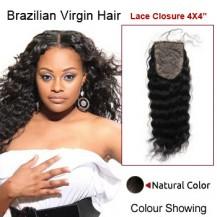 "14"" Natural Black Deep Wave 100% Brazilian Virgin Hair Lace Closure/Top Closure"
