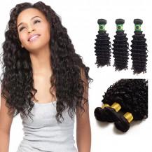 12/14/16 Inches Deep Curly Natural Black Virgin Brazilian Hair
