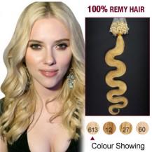 "20"" Bleach Blonde(#613)100S Wavy Micro Loop Remy Human Hair Extensions"
