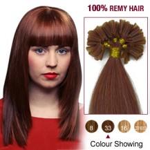 "22"" Dark Auburn(#33) 100S Nail Tip Remy Human Hair Extensions"