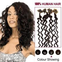 """20"""" Dark Brown(#2) 100S Curly Micro Loop Remy Human Hair Extensions"""