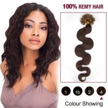 "20"" Medium Brown(#4) 100S Wavy Nail Tip Remy Human Hair Extensions"