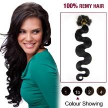 """20"""" Natural Black(#1b) 100S Wavy Nail Tip Remy Human Hair Extensions"""