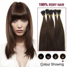 "18"" Medium Brown(#4) 100S Stick Tip Remy Human Hair Extensions"
