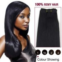 "14"" Jet Black(#1) Light Yaki Indian Remy Hair Wefts"