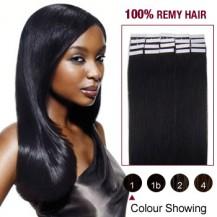 "20"" Jet Black(#1) 20pcs Tape In Human Hair Extensions"