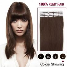 "20"" Medium Brown(#4) 20pcs Tape In Human Hair Extensions"