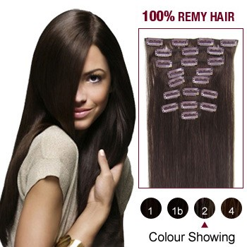 """16"""" Dark Brown(#2) 12pcs Clip In Remy Human Hair Extensions"""