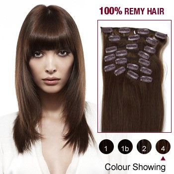 """16"""" Medium Brown(#4) 12pcs Clip In Remy Human Hair Extensions"""