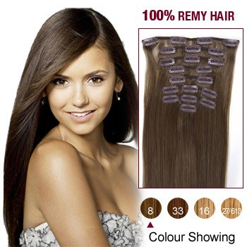 """16"""" Ash Brown(#8) 12pcs Clip In Remy Human Hair Extensions"""