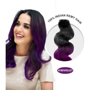 "18"" #1B/Violet Ombre Body Wave 100% Remy Human Hair"
