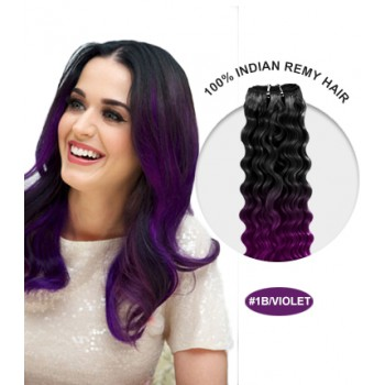 """14"""" #1B/Violet Ombre Curly 100% Remy Human Hair"""