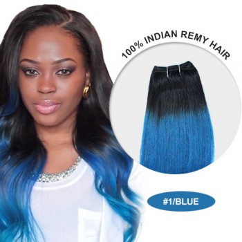 """16"""" #1/Blue Ombre Straight 100% Remy Human Hair"""