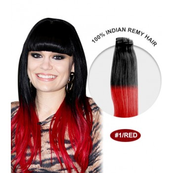"""16"""" #1/Red Ombre Straight 100% Remy Human Hair"""
