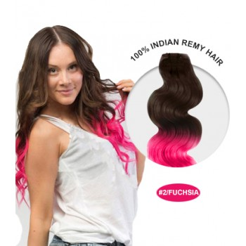 "22"" #2/Fuchsia Ombre Body Wave 100% Remy Human Hair"