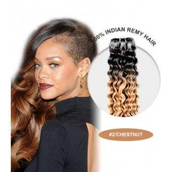 """16"""" #2/Chestnut Ombre Curly 100% Remy Human Hair"""