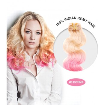 """24"""" #613/Pink Ombre Body Wave 100% Remy Human Hair"""