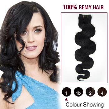 """12"""" Jet Black(#1) Body Wave Indian Remy Hair Wefts"""