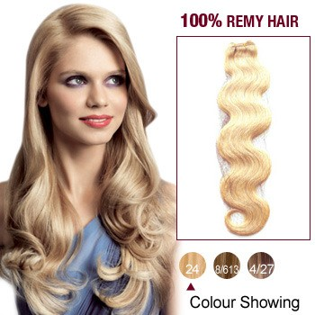 "24"" Ash Blonde(#24) Body Wave Indian Remy Hair Wefts"