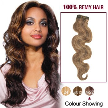 """10"""" Brown/Blonde(#4/27) Body Wave Indian Remy Hair Wefts"""