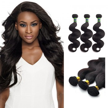 22 Inches*3 Body Wave Natural Black Virgin Brazilian Hair