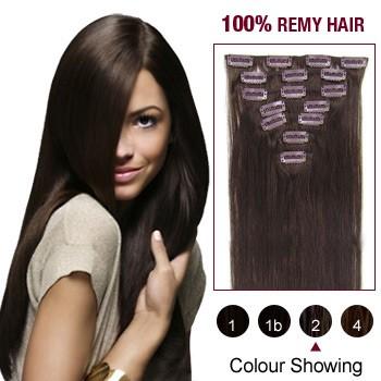 "16"" Dark Brown(#2) 7pcs Clip In  Human Hair Extensions"