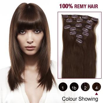"18"" Medium Brown(#4) 7pcs Clip In  Human Hair Extensions"
