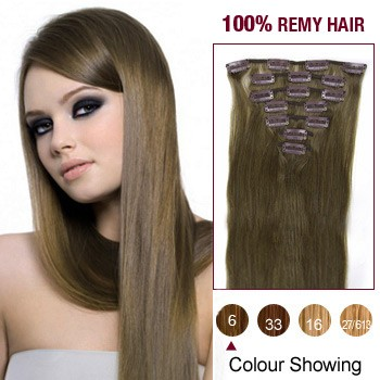 """16"""" Light Brown(#6) 7pcs Clip In  Human Hair Extensions"""
