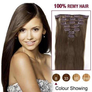 """24"""" Ash Brown(#8) 7pcs Clip In  Remy Human Hair Extensions"""