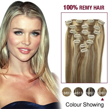 "16"" #12/613 7pcs Clip In  Remy Human Hair Extensions"
