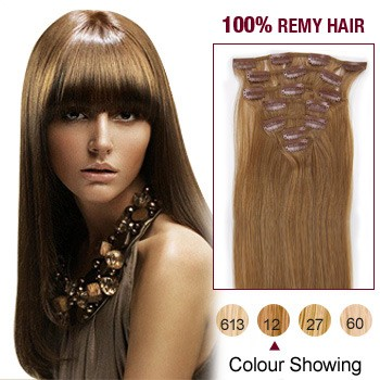 """22"""" Golden Brown(#12) 7pcs Clip In  Remy Human Hair Extensions"""