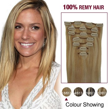 """18"""" Blonde Highlight(#18/613) 7pcs Clip In  Remy Human Hair Extensions"""