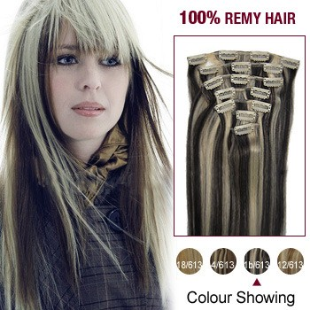 "22"" #1b/613 7pcs Clip In  Human Hair Extensions"