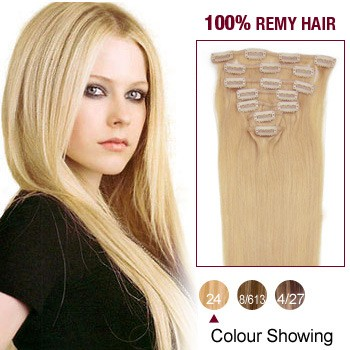 """20"""" Ash Blonde(#24) 7pcs Clip In  Remy Human Hair Extensions"""