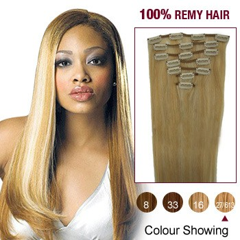 """22"""" Blonde Highlight(#27/613) 7pcs Clip In  Human Hair Extensions"""