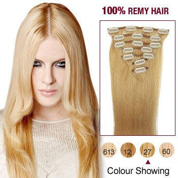 """22"""" Strawberry Blonde(#27) 7pcs Clip In  Remy Human Hair Extensions"""