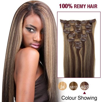 """24"""" Brown/Blonde(#4/27) 7pcs Clip In  Remy Human Hair Extensions"""