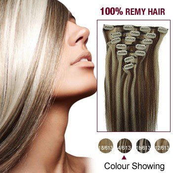"""18"""" #4/613 7pcs Clip In  Remy Human Hair Extensions"""