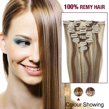 "16"" Brown/Blonde(#8/613) 7pcs Clip In  Remy Human Hair Extensions"