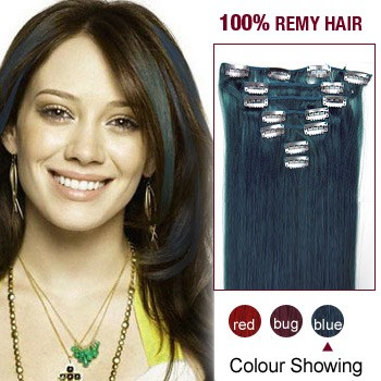"""22"""" Blue 7pcs Clip In  Human Hair Extensions"""