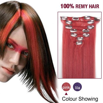 """18"""" Pink 7pcs Clip In  Human Hair Extensions"""