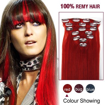 "22"" Red 7pcs Clip In  Human Hair Extensions"
