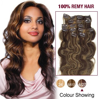 """20"""" Brown/Blonde(#4/27) 7pcs Clip In  Remy Human Hair Extensions"""