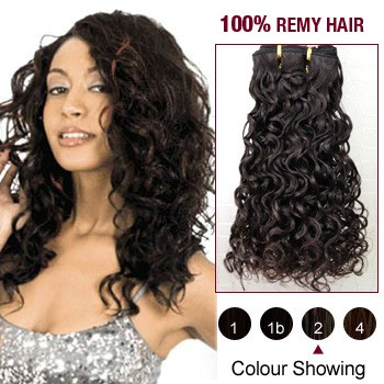 """16"""" Dark Brown(#2) Curly Indian Remy Hair Wefts"""