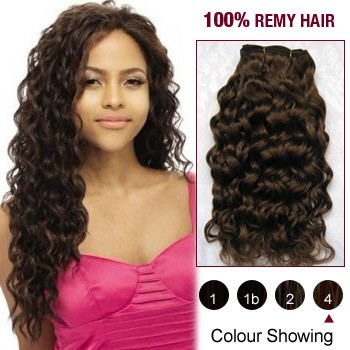 "10"" Medium Brown(#4) Curly Indian Remy Hair Wefts"